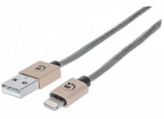 Kabel USB A/MFi-Certified 8-Pin Lighting MANHATTAN, pleten, moški/moški, 1 m, kovinsko zlata - 394321 - 766623394321